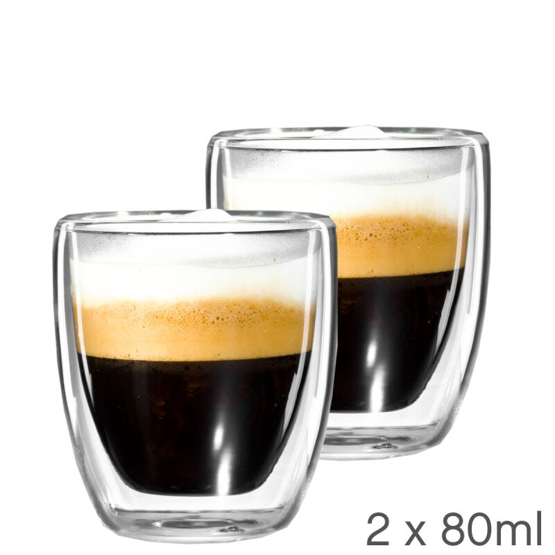 2er set espresso tasse aus glas mit schwebeeffekt gew lbt 80ml im. Black Bedroom Furniture Sets. Home Design Ideas