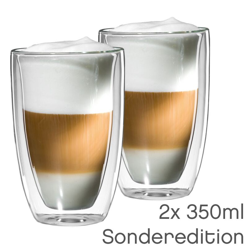 2er set xl latte macchiato sonder edition glas 350ml bloomix thermo. Black Bedroom Furniture Sets. Home Design Ideas